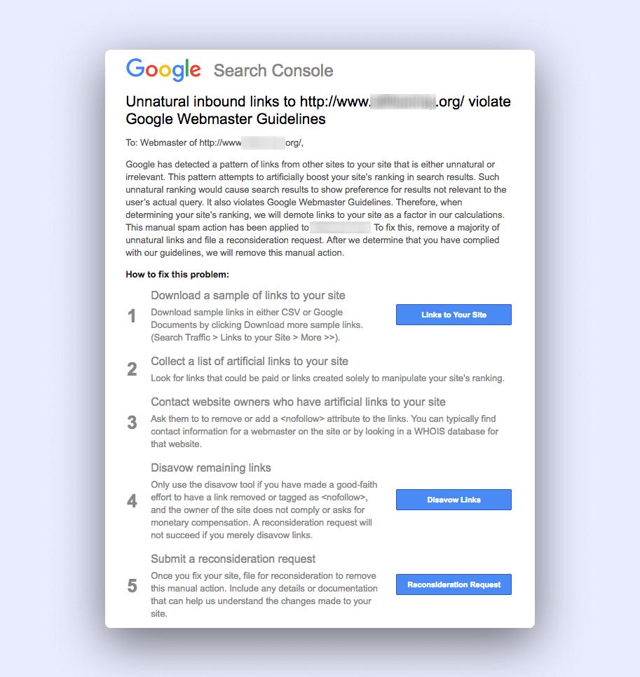 Google懲罰黑帽SEO通知