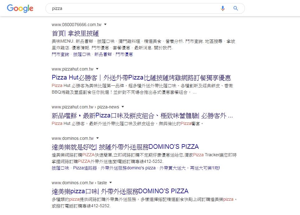 Pizza關鍵字搜尋結果